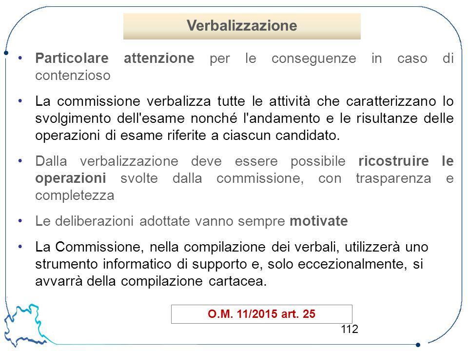 112 Particolare attenzione per le conseguenze in caso di contenzioso La commissione verbalizza tutte le attività che caratterizzano lo svolgimento del