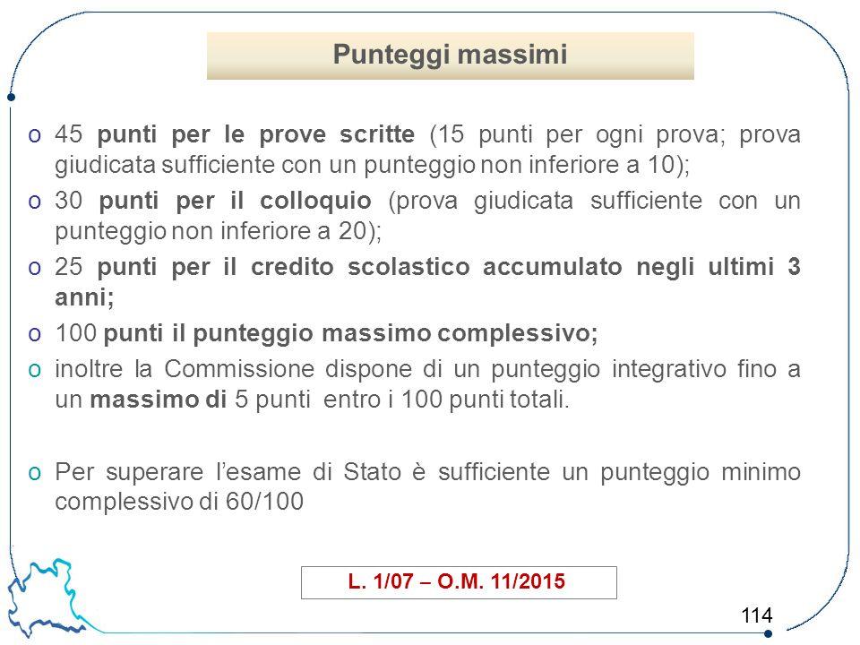 114 o45 punti per le prove scritte (15 punti per ogni prova; prova giudicata sufficiente con un punteggio non inferiore a 10); o30 punti per il colloq