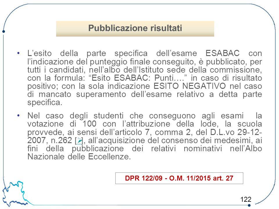 122 L'esito della parte specifica dell'esame ESABAC con l'indicazione del punteggio finale conseguito, è pubblicato, per tutti i candidati, nell'albo
