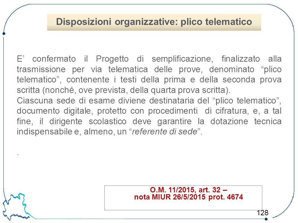 128 O.M. 11/2015, art. 32 – nota MIUR 26/5/2015 prot. 4674 E' confermato il Progetto di semplificazione, finalizzato alla trasmissione per via telemat