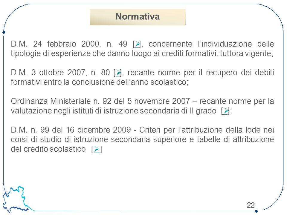 22 D.M. 24 febbraio 2000, n. 49 [  ], concernente l'individuazione delle tipologie di esperienze che danno luogo ai crediti formativi; tuttora vigent