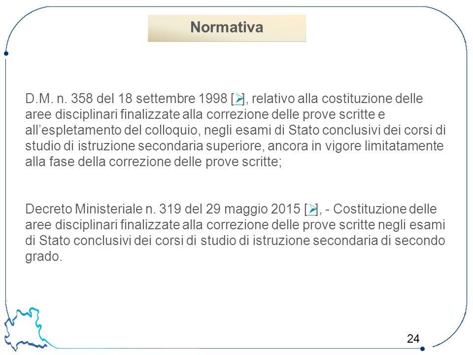 24 D.M. n. 358 del 18 settembre 1998 [  ], relativo alla costituzione delle aree disciplinari finalizzate alla correzione delle prove scritte e all'e