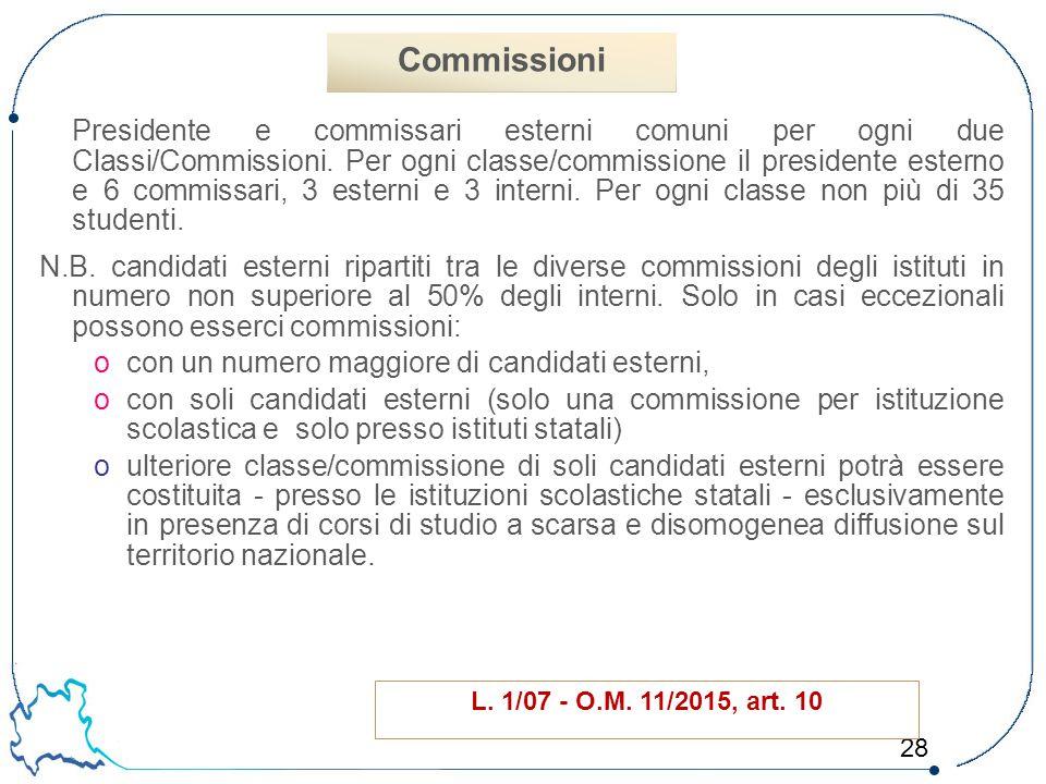 28 Presidente e commissari esterni comuni per ogni due Classi/Commissioni. Per ogni classe/commissione il presidente esterno e 6 commissari, 3 esterni