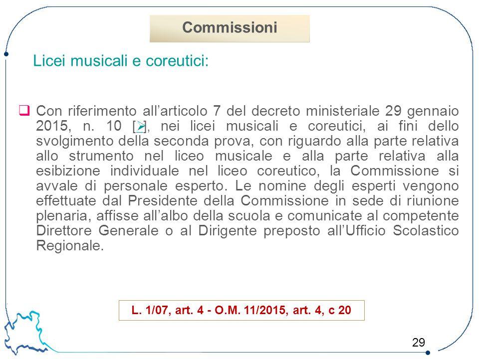 29 Licei musicali e coreutici:  Con riferimento all'articolo 7 del decreto ministeriale 29 gennaio 2015, n. 10 [  ], nei licei musicali e coreutici,