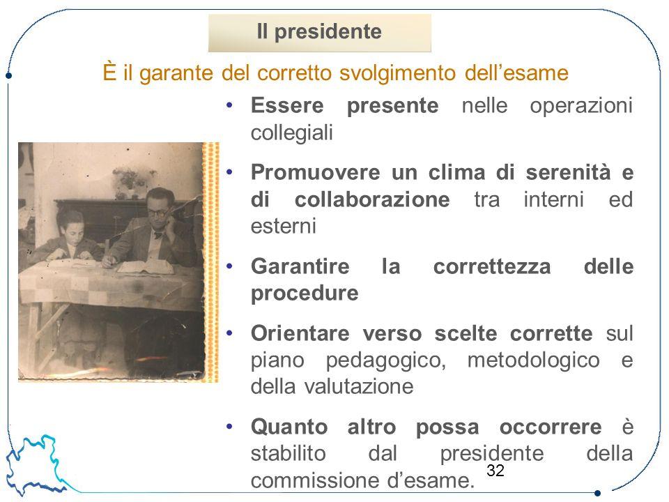 32 È il garante del corretto svolgimento dell'esame Il presidente Essere presente nelle operazioni collegiali Promuovere un clima di serenità e di col