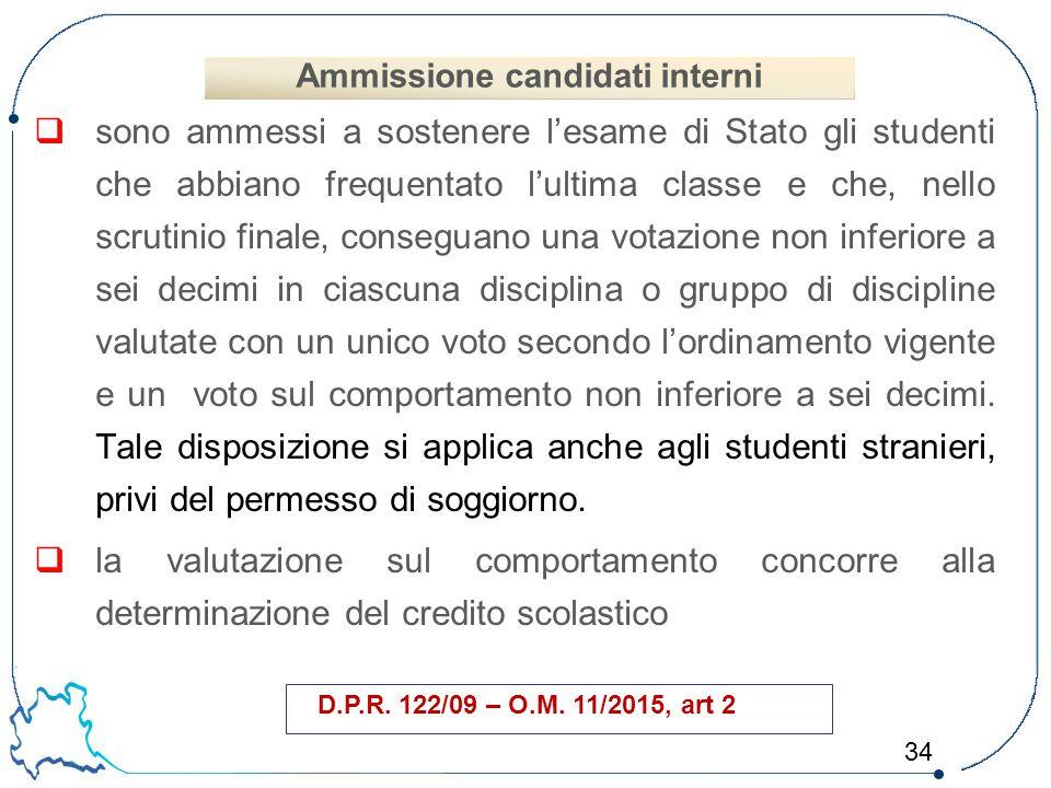 34  sono ammessi a sostenere l'esame di Stato gli studenti che abbiano frequentato l'ultima classe e che, nello scrutinio finale, conseguano una vota