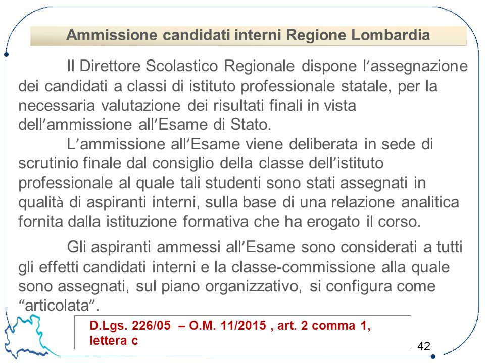 42 Il Direttore Scolastico Regionale dispone l ' assegnazione dei candidati a classi di istituto professionale statale, per la necessaria valutazione