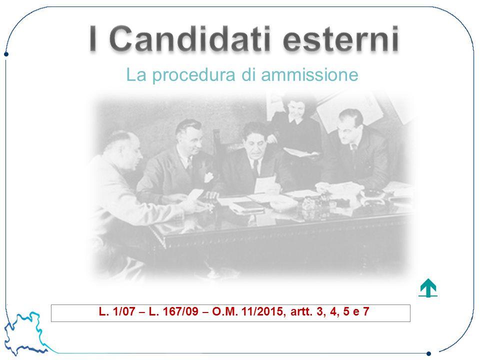 L. 1/07 – L. 167/09 – O.M. 11/2015, artt. 3, 4, 5 e 7  La procedura di ammissione
