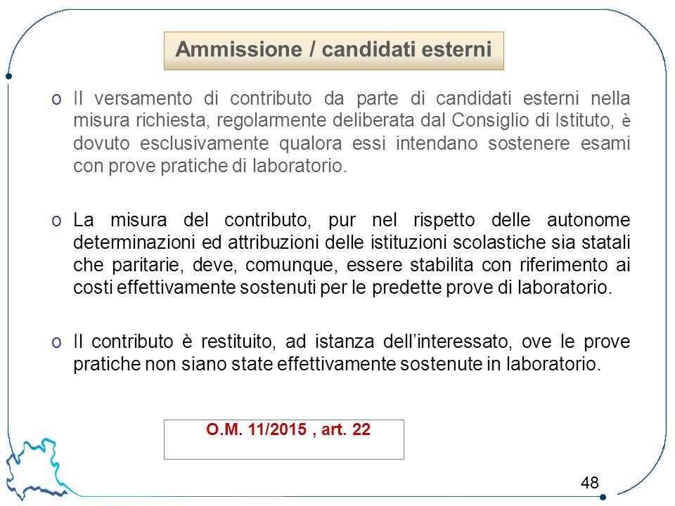 48 oIl versamento di contributo da parte di candidati esterni nella misura richiesta, regolarmente deliberata dal Consiglio di Istituto, è dovuto escl