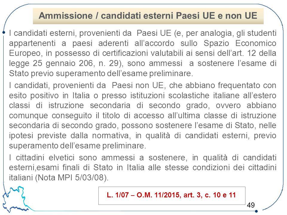 49 I candidati esterni, provenienti da Paesi UE (e, per analogia, gli studenti appartenenti a paesi aderenti all'accordo sullo Spazio Economico Europe