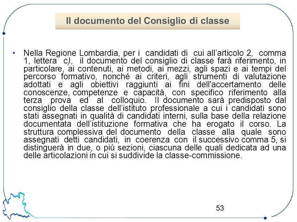 53 Nella Regione Lombardia, per i candidati di cui all'articolo 2, comma 1, lettera c), il documento del consiglio di classe farà riferimento, in part