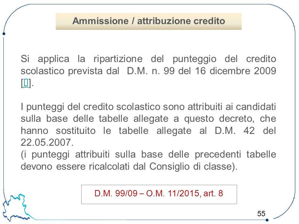 55 Si applica la ripartizione del punteggio del credito scolastico prevista dal D.M. n. 99 del 16 dicembre 2009 [  ].  I punteggi del credito scolas