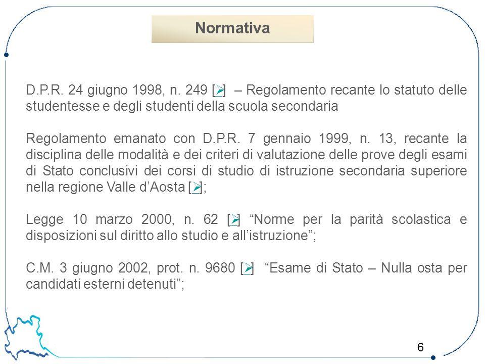 6 D.P.R. 24 giugno 1998, n. 249 [  ] – Regolamento recante lo statuto delle studentesse e degli studenti della scuola secondaria  Regolamento emanat