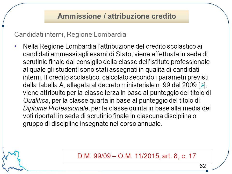 62 Candidati interni, Regione Lombardia Nella Regione Lombardia l'attribuzione del credito scolastico ai candidati ammessi agli esami di Stato, viene