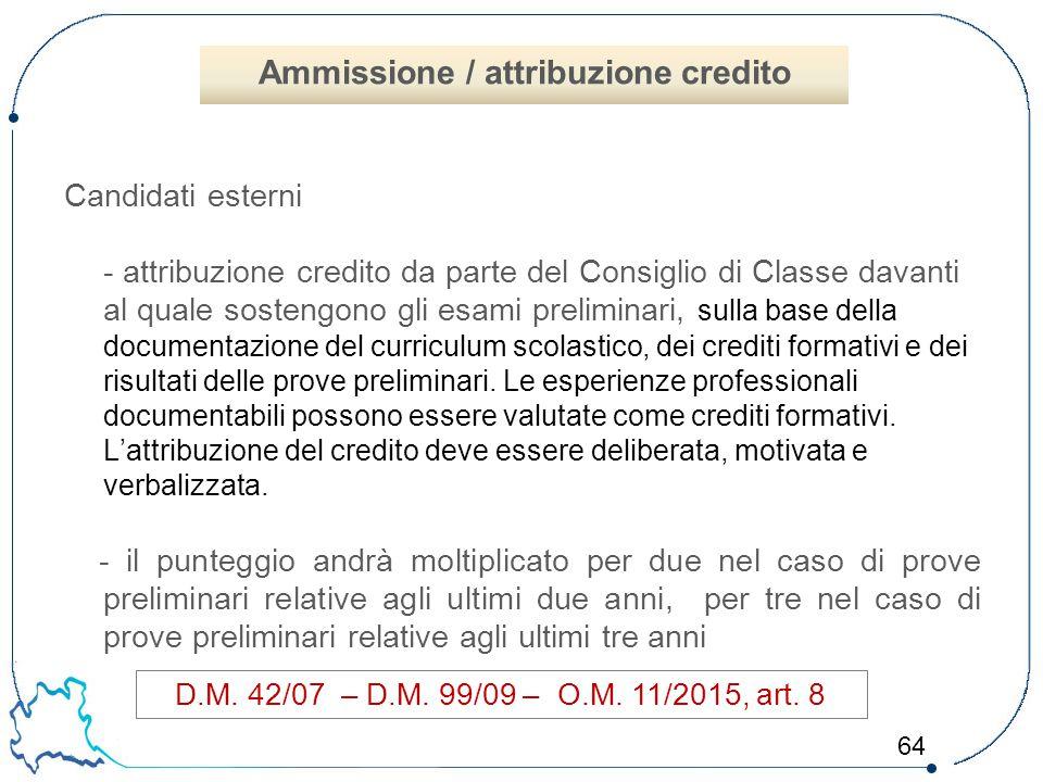 64 Candidati esterni - attribuzione credito da parte del Consiglio di Classe davanti al quale sostengono gli esami preliminari, sulla base della docum