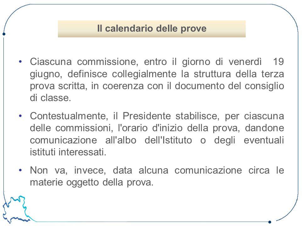 Ciascuna commissione, entro il giorno di venerdì 19 giugno, definisce collegialmente la struttura della terza prova scritta, in coerenza con il docume