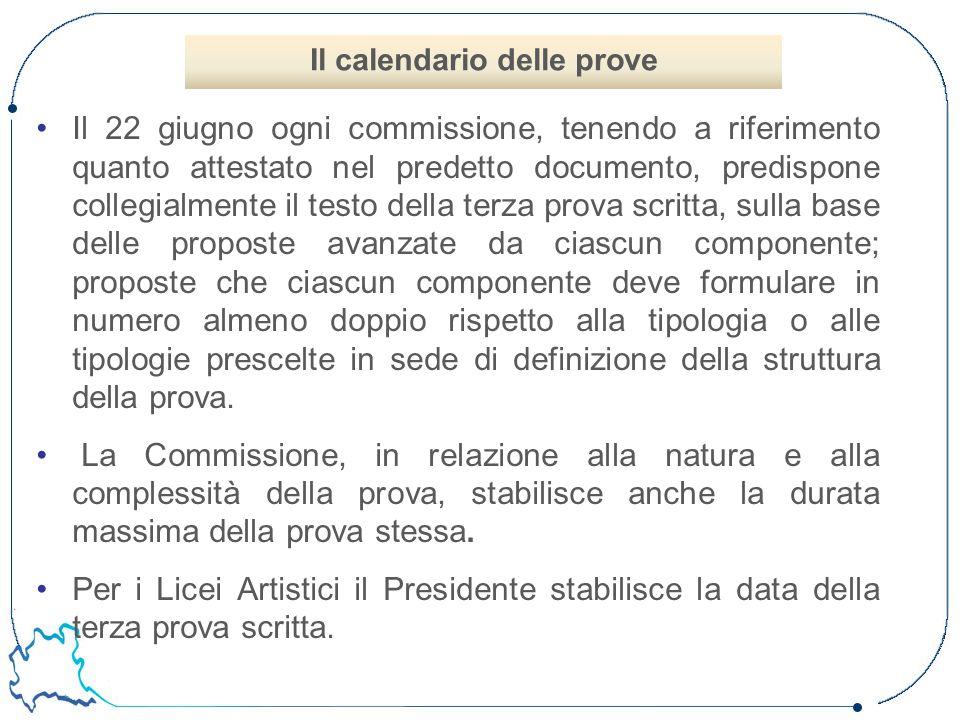 Il 22 giugno ogni commissione, tenendo a riferimento quanto attestato nel predetto documento, predispone collegialmente il testo della terza prova scr
