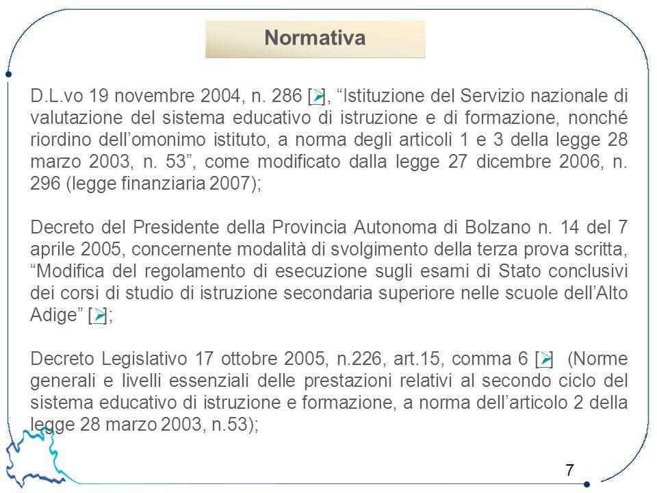 """7 D.L.vo 19 novembre 2004, n. 286 [  ], """"Istituzione del Servizio nazionale di valutazione del sistema educativo di istruzione e di formazione, nonch"""