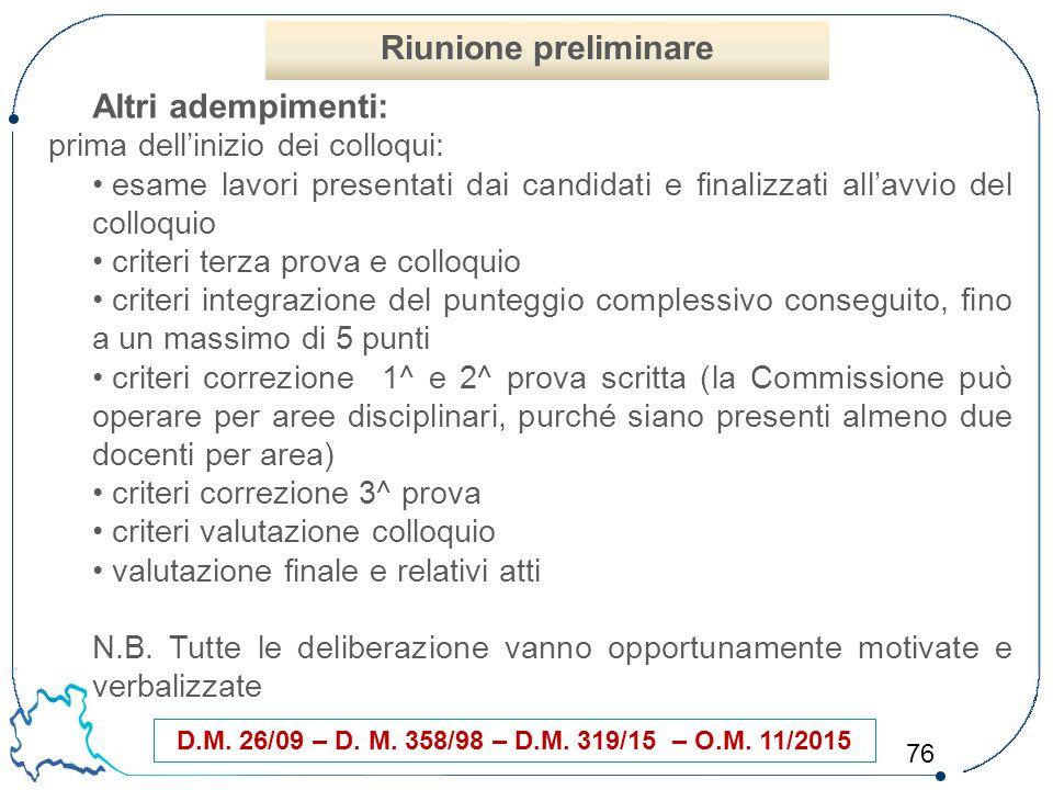 76 D.M. 26/09 – D. M. 358/98 – D.M. 319/15 – O.M. 11/2015 Altri adempimenti: prima dell'inizio dei colloqui: esame lavori presentati dai candidati e f