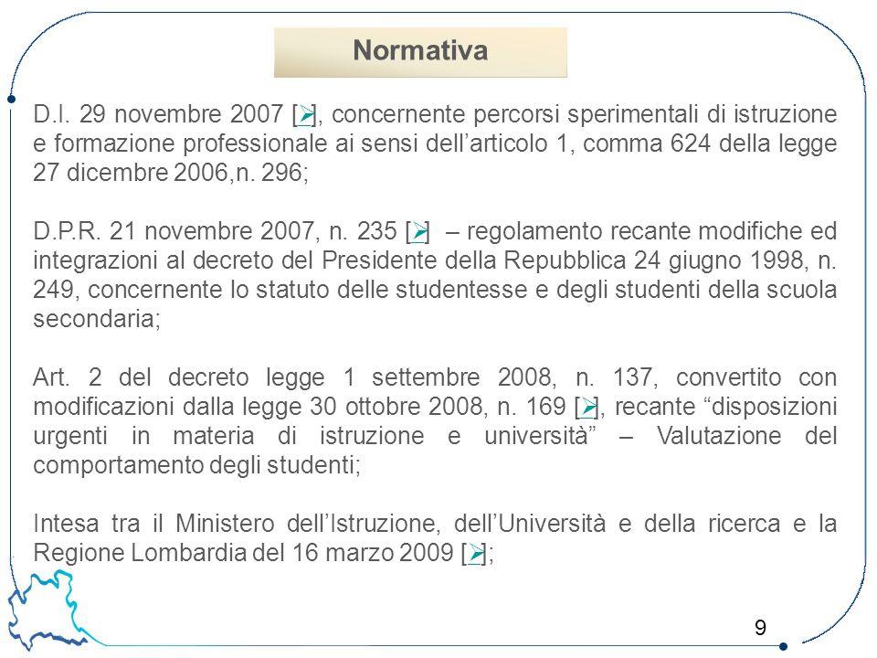9 D.I. 29 novembre 2007 [  ], concernente percorsi sperimentali di istruzione e formazione professionale ai sensi dell'articolo 1, comma 624 della le