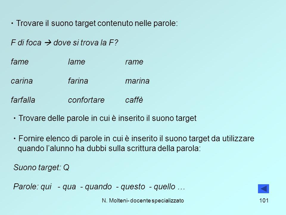 N. Molteni- docente specializzato101 Trovare il suono target contenuto nelle parole: F di foca  dove si trova la F? famelamerame carinafarinamarina f