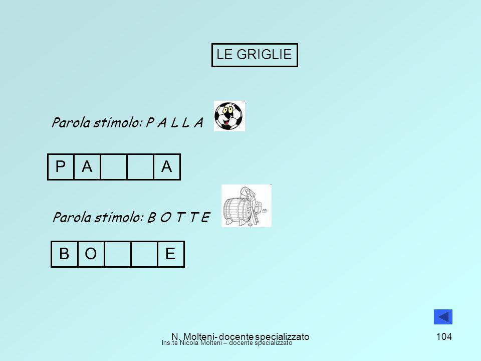 N. Molteni- docente specializzato104 LE GRIGLIE Parola stimolo: P A L L A PAA Parola stimolo: B O T T E OEB Ins.te Nicola Molteni – docente specializz