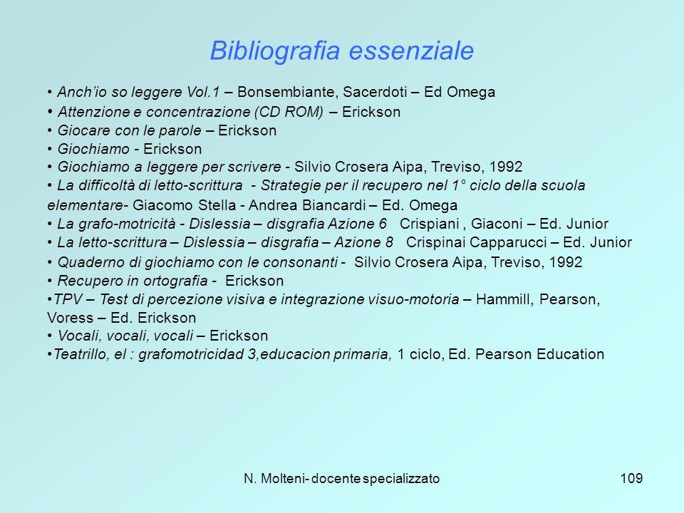 N. Molteni- docente specializzato109 Bibliografia essenziale Anch'io so leggere Vol.1 – Bonsembiante, Sacerdoti – Ed Omega Attenzione e concentrazione