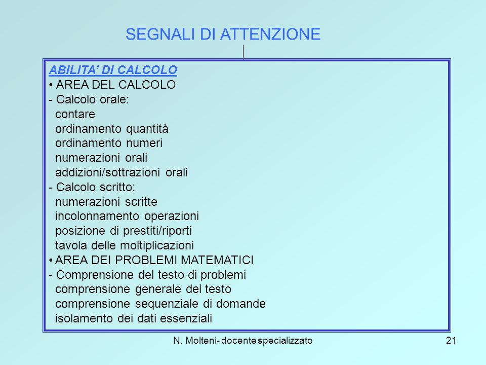N. Molteni- docente specializzato21 SEGNALI DI ATTENZIONE ABILITA' DI CALCOLO AREA DEL CALCOLO - Calcolo orale: contare ordinamento quantità ordinamen