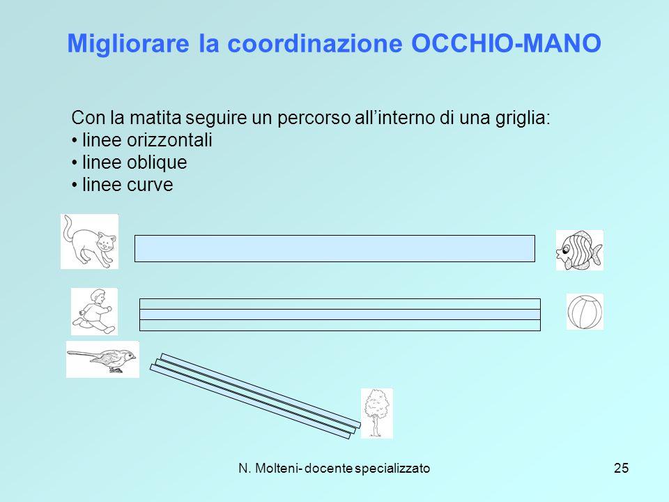 N. Molteni- docente specializzato25 Migliorare la coordinazione OCCHIO-MANO Con la matita seguire un percorso all'interno di una griglia: linee orizzo