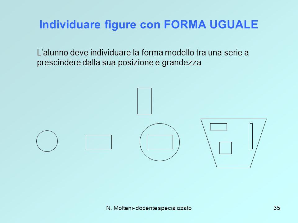 N. Molteni- docente specializzato35 Individuare figure con FORMA UGUALE L'alunno deve individuare la forma modello tra una serie a prescindere dalla s