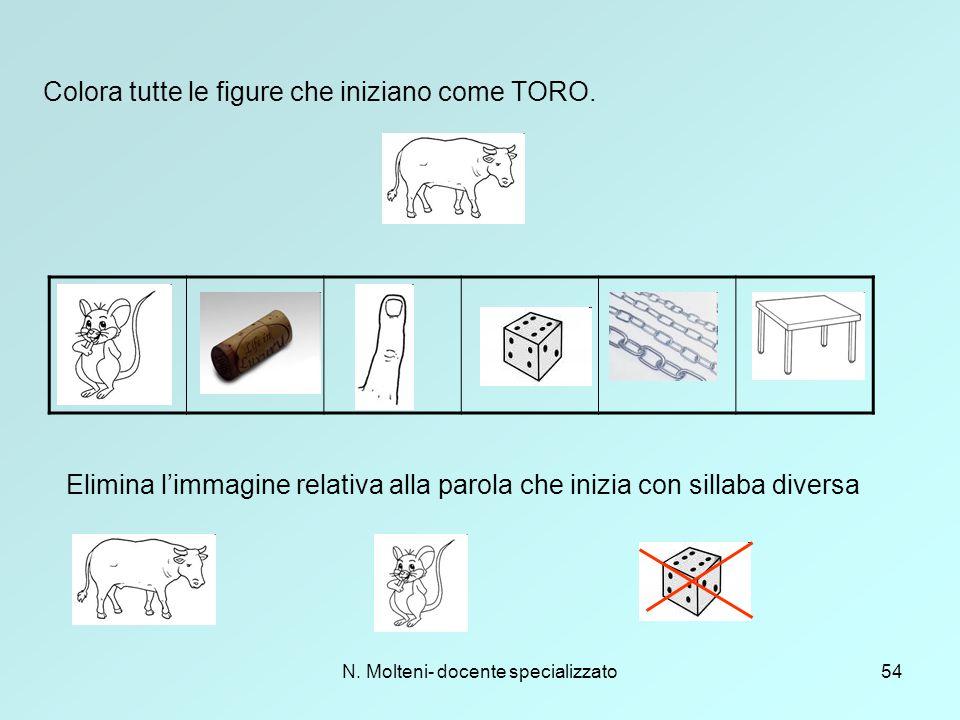 N. Molteni- docente specializzato54 Colora tutte le figure che iniziano come TORO. Elimina l'immagine relativa alla parola che inizia con sillaba dive