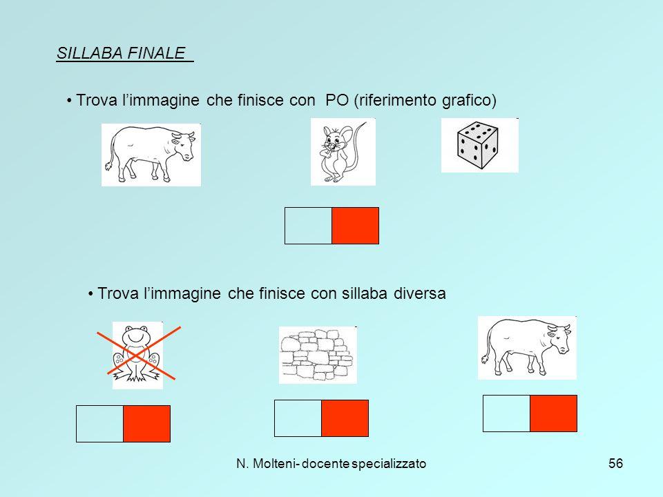 N. Molteni- docente specializzato56 SILLABA FINALE Trova l'immagine che finisce con PO (riferimento grafico) Trova l'immagine che finisce con sillaba