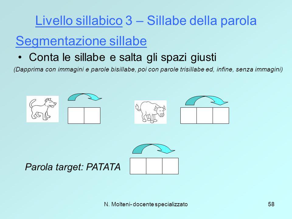 N. Molteni- docente specializzato58 Livello sillabico 3 – Sillabe della parola Segmentazione sillabe (Dapprima con immagini e parole bisillabe, poi co