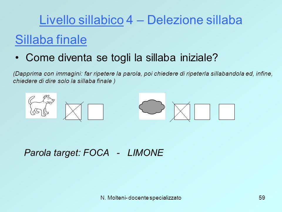N. Molteni- docente specializzato59 Livello sillabico 4 – Delezione sillaba Sillaba finale (Dapprima con immagini: far ripetere la parola, poi chieder