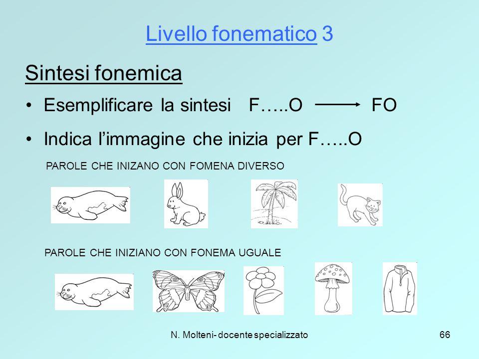 N. Molteni- docente specializzato66 Livello fonematico 3 Sintesi fonemica Esemplificare la sintesi F…..O FO Indica l'immagine che inizia per F…..O PAR