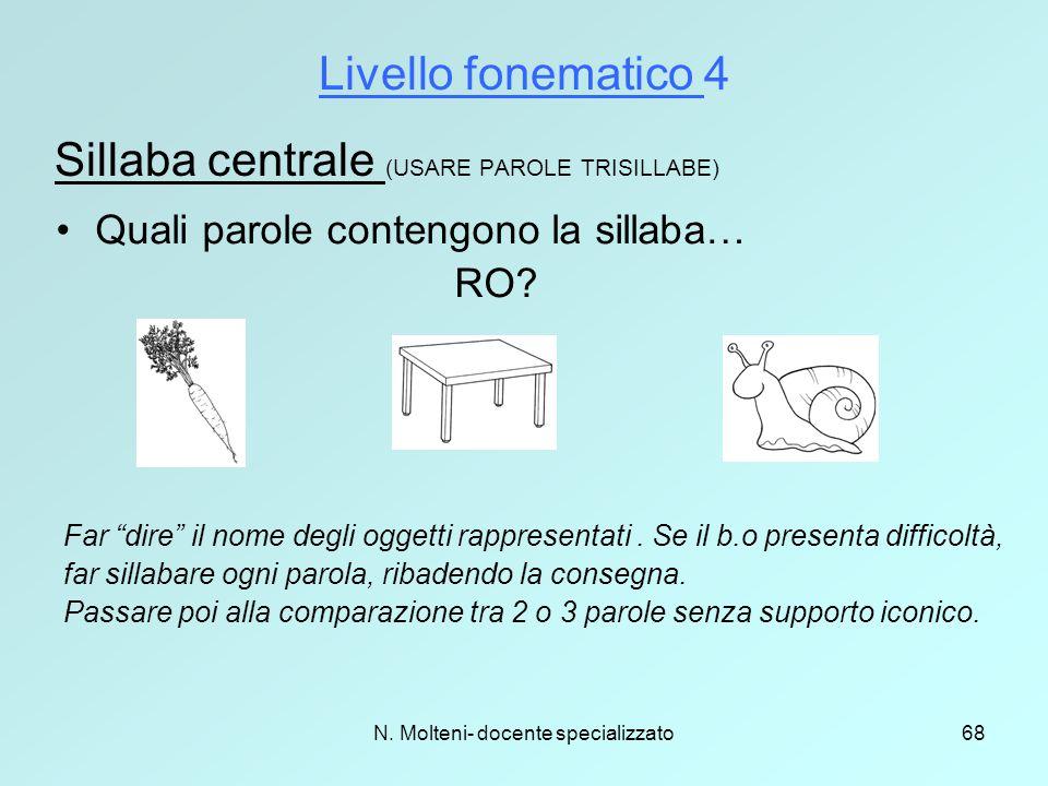 """N. Molteni- docente specializzato68 Livello fonematico 4 Sillaba centrale (USARE PAROLE TRISILLABE) Quali parole contengono la sillaba… RO? Far """"dire"""""""