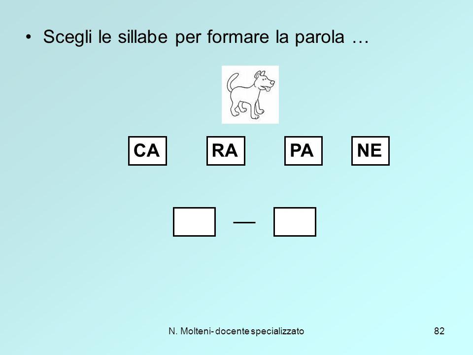 N. Molteni- docente specializzato82 Scegli le sillabe per formare la parola … CARAPANE