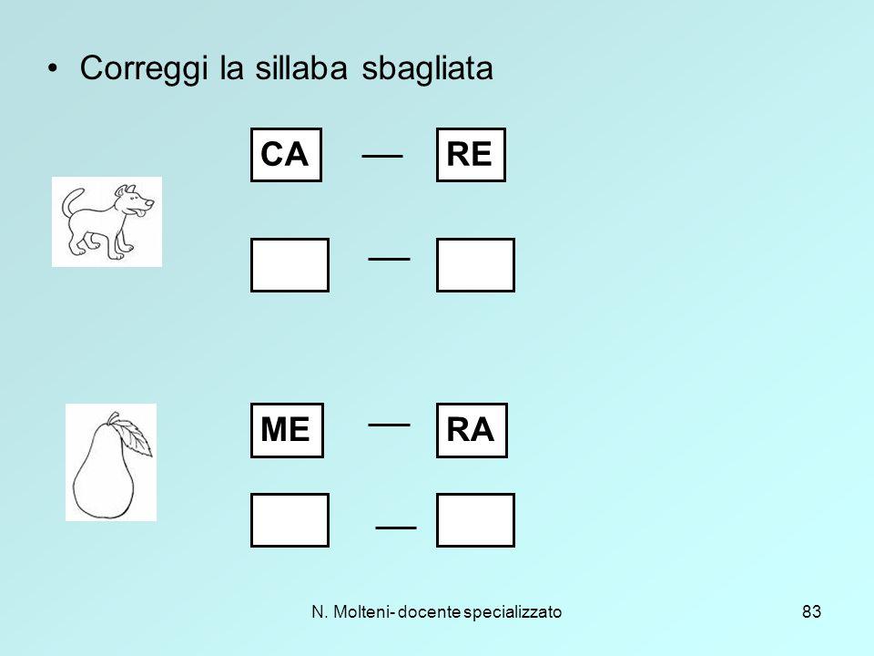N. Molteni- docente specializzato83 Correggi la sillaba sbagliata CARE MERA