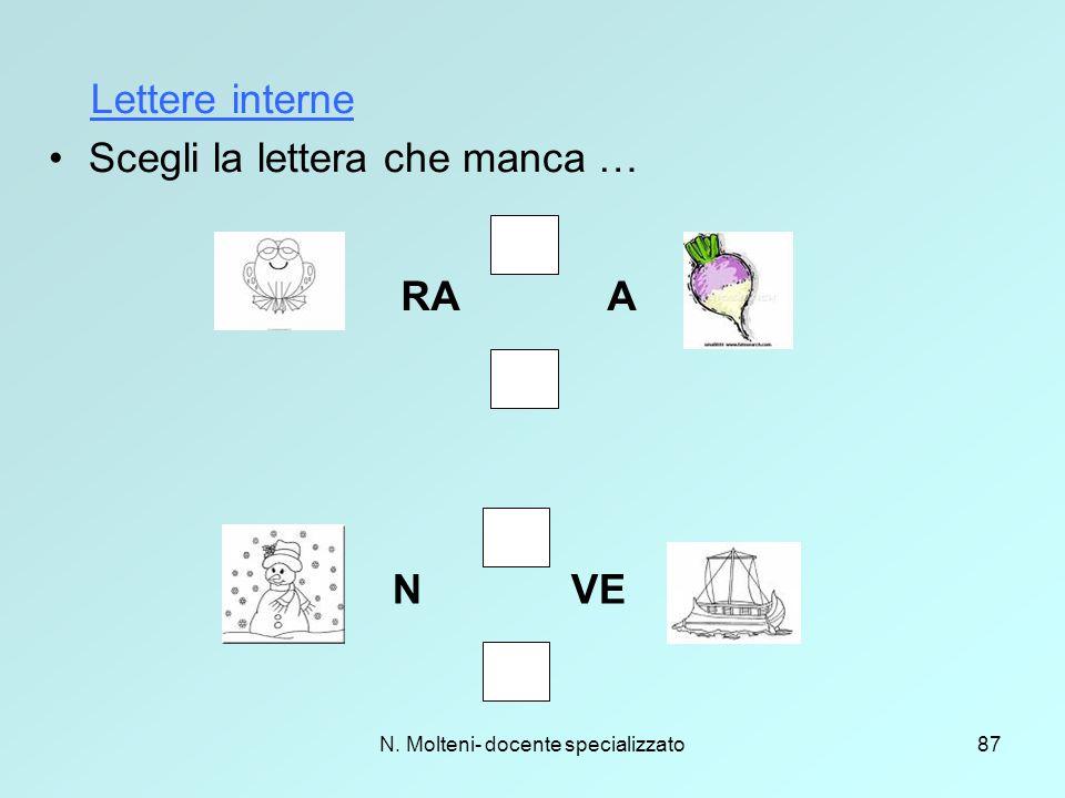 N. Molteni- docente specializzato87 Scegli la lettera che manca … N VE RA A Lettere interne