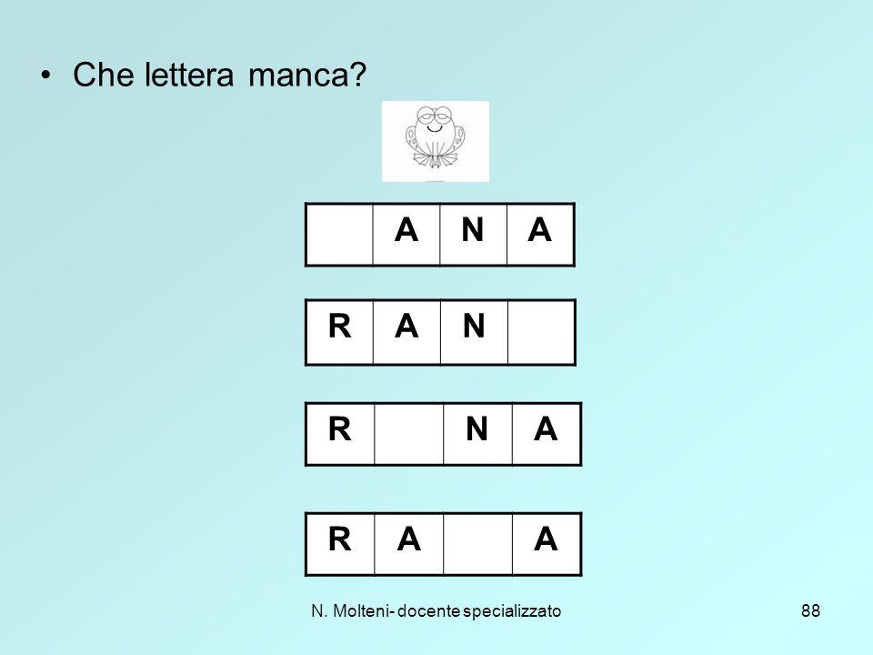 N. Molteni- docente specializzato88 Che lettera manca? RAA RAN ANA RNA