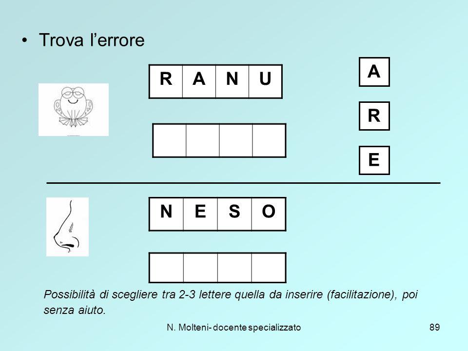 N. Molteni- docente specializzato89 Trova l'errore RANU NESO A R E Possibilità di scegliere tra 2-3 lettere quella da inserire (facilitazione), poi se