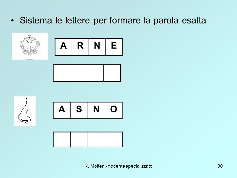 N. Molteni- docente specializzato90 Sistema le lettere per formare la parola esatta ARNE ASNO