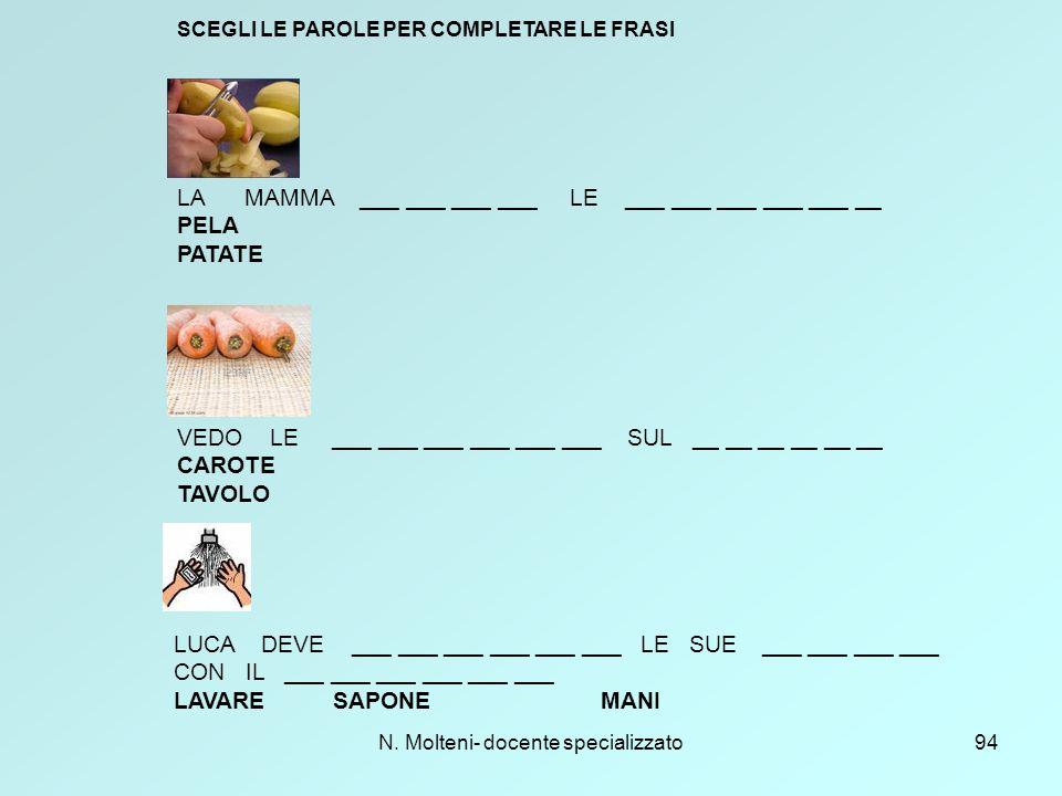 N. Molteni- docente specializzato94 SCEGLI LE PAROLE PER COMPLETARE LE FRASI LA MAMMA ___ ___ ___ ___ LE ___ ___ ___ ___ ___ __ PELA PATATE VEDO LE __