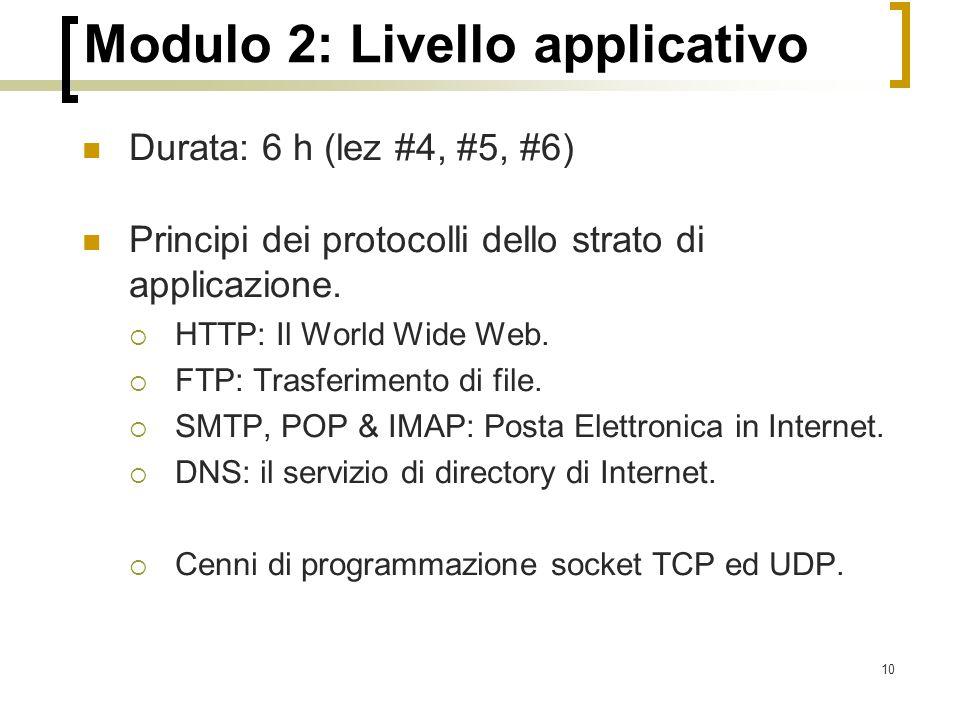 10 Modulo 2: Livello applicativo Durata: 6 h (lez #4, #5, #6) Principi dei protocolli dello strato di applicazione.