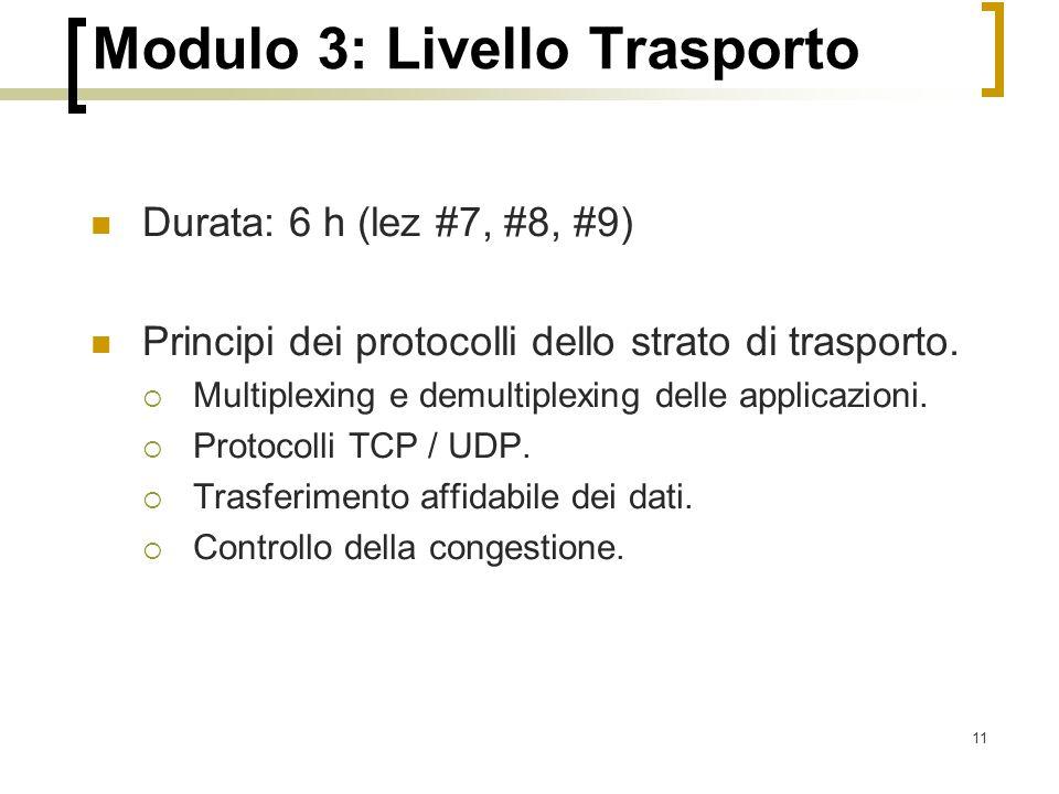 11 Modulo 3: Livello Trasporto Durata: 6 h (lez #7, #8, #9) Principi dei protocolli dello strato di trasporto.