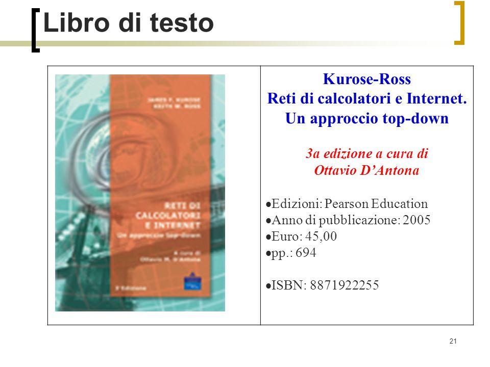 21 Libro di testo Kurose-Ross Reti di calcolatori e Internet.