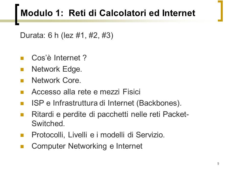 9 Modulo 1: Reti di Calcolatori ed Internet Durata: 6 h (lez #1, #2, #3) Cos'è Internet .