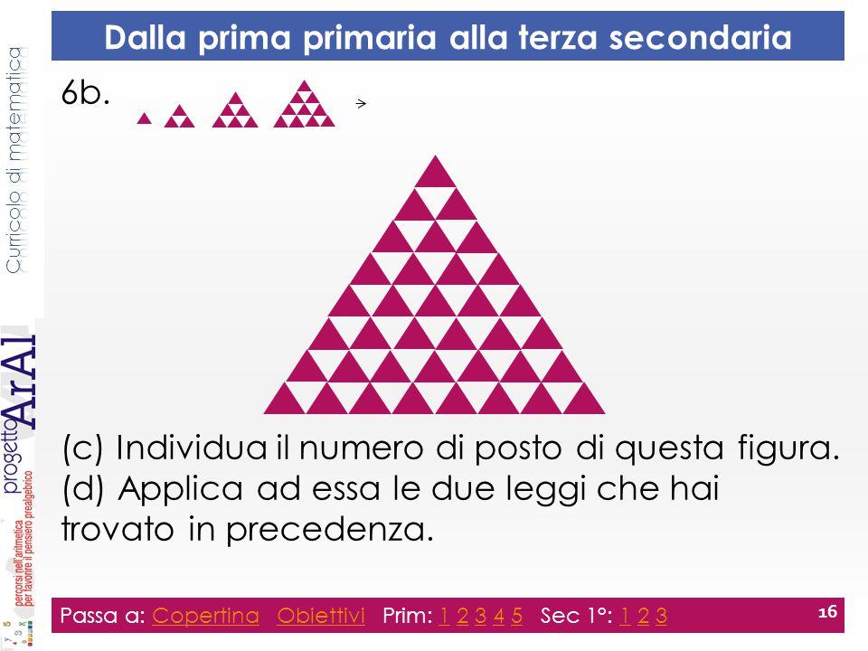 6b. (c) Individua il numero di posto di questa figura. (d) Applica ad essa le due leggi che hai trovato in precedenza. Passa a: Copertina Obiettivi Pr