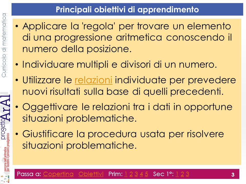 Principali obiettivi di apprendimento Applicare la 'regola' per trovare un elemento di una progressione aritmetica conoscendo il numero della posizion