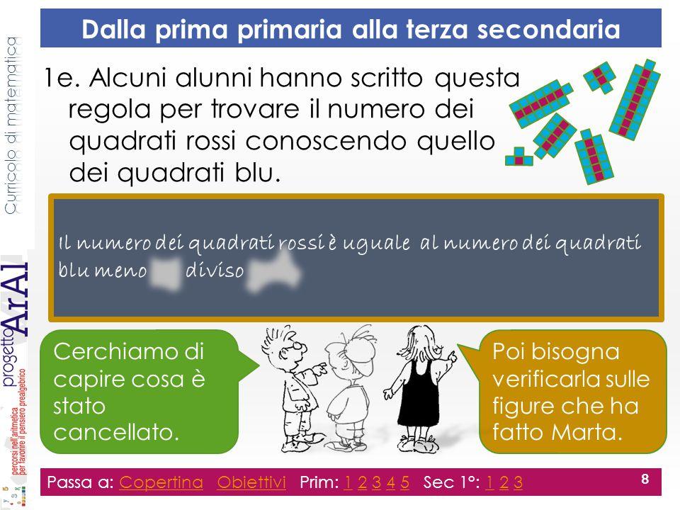 1e. Alcuni alunni hanno scritto questa regola per trovare il numero dei quadrati rossi conoscendo quello dei quadrati blu. Passa a: Copertina Obiettiv